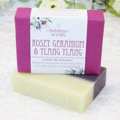 rose geranium ylang soap