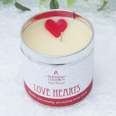 love hearts candle
