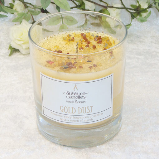 gold dust glass candle