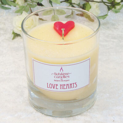 love hearts glass candle